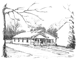 Illustration of the Ames Friends Meeting house